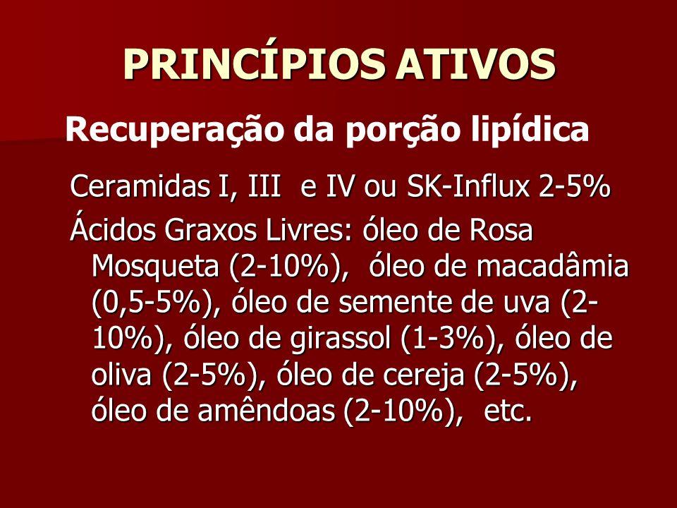 PRINCÍPIOS ATIVOS Ceramidas I, III e IV ou SK-Influx 2-5% Ácidos Graxos Livres: óleo de Rosa Mosqueta (2-10%), óleo de macadâmia (0,5-5%), óleo de sem