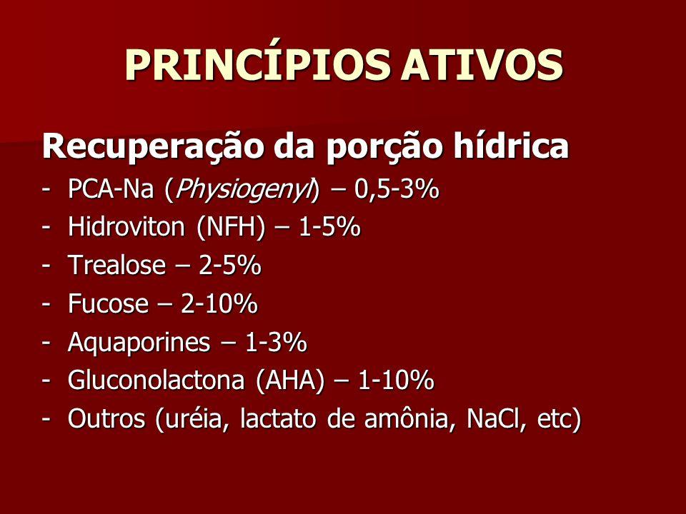 PRINCÍPIOS ATIVOS Recuperação da porção hídrica - PCA-Na (Physiogenyl) – 0,5-3% - Hidroviton (NFH) – 1-5% - Trealose – 2-5% - Fucose – 2-10% - Aquapor