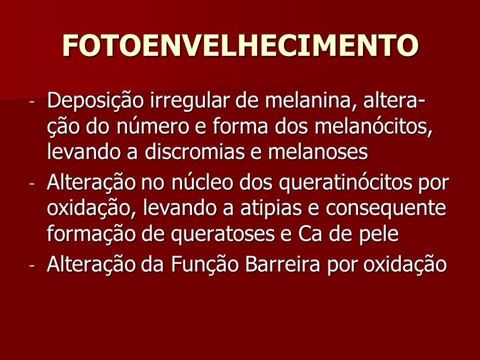 FOTOENVELHECIMENTO - Deposição irregular de melanina, altera- ção do número e forma dos melanócitos, levando a discromias e melanoses - Alteração no n