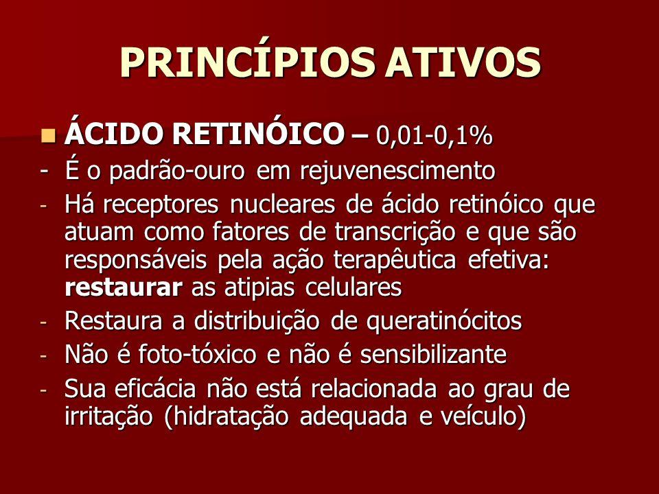 PRINCÍPIOS ATIVOS ÁCIDO RETINÓICO – 0,01-0,1% ÁCIDO RETINÓICO – 0,01-0,1% - É o padrão-ouro em rejuvenescimento - Há receptores nucleares de ácido ret