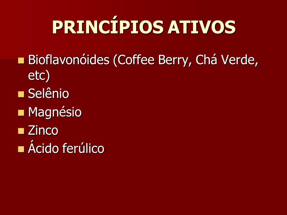 PRINCÍPIOS ATIVOS Bioflavonóides (Coffee Berry, Chá Verde, etc) Bioflavonóides (Coffee Berry, Chá Verde, etc) Selênio Selênio Magnésio Magnésio Zinco