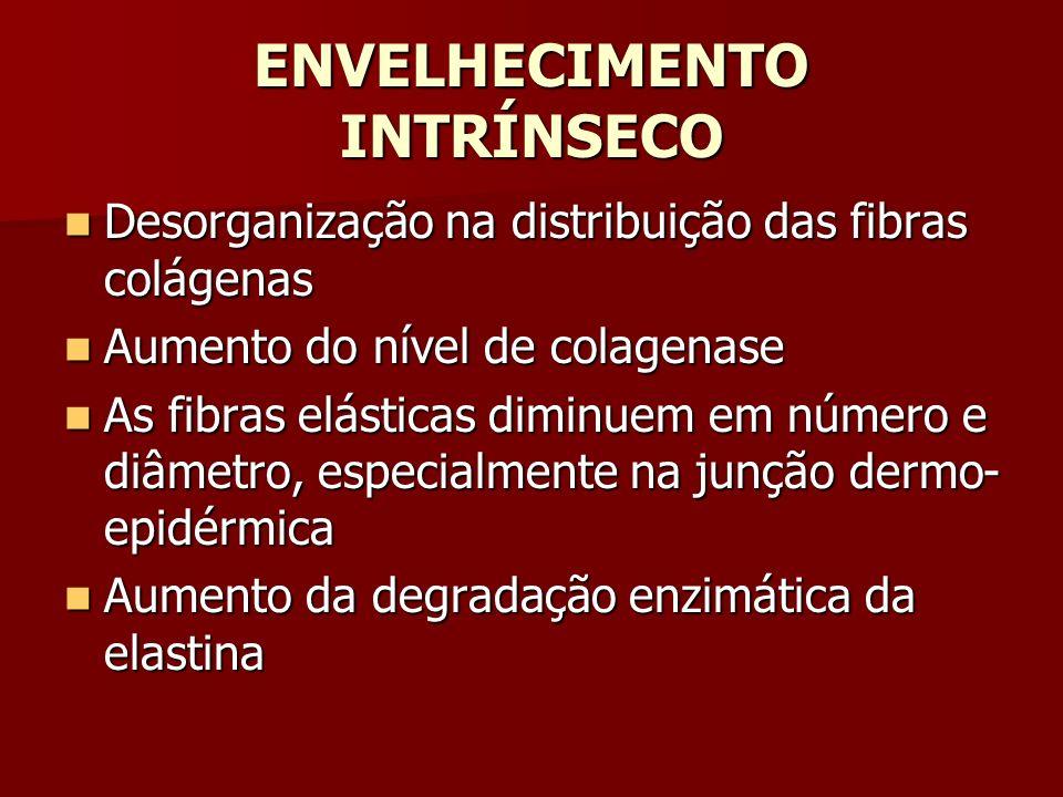 ENVELHECIMENTO INTRÍNSECO Desorganização na distribuição das fibras colágenas Desorganização na distribuição das fibras colágenas Aumento do nível de