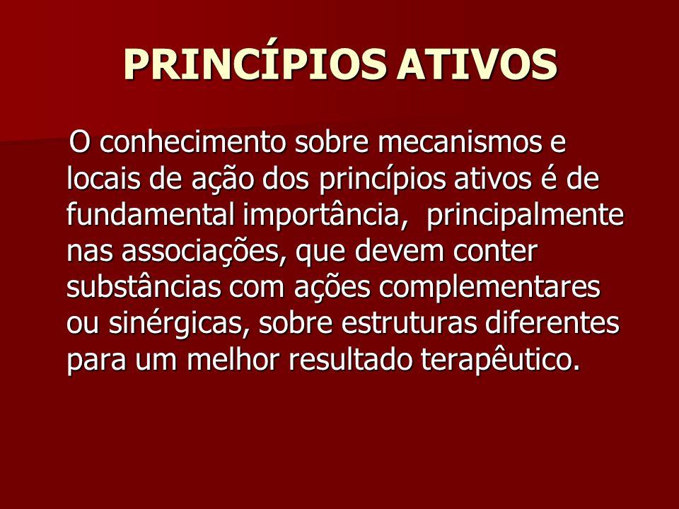 PRINCÍPIOS ATIVOS O conhecimento sobre mecanismos e locais de ação dos princípios ativos é de fundamental importância, principalmente nas associações,