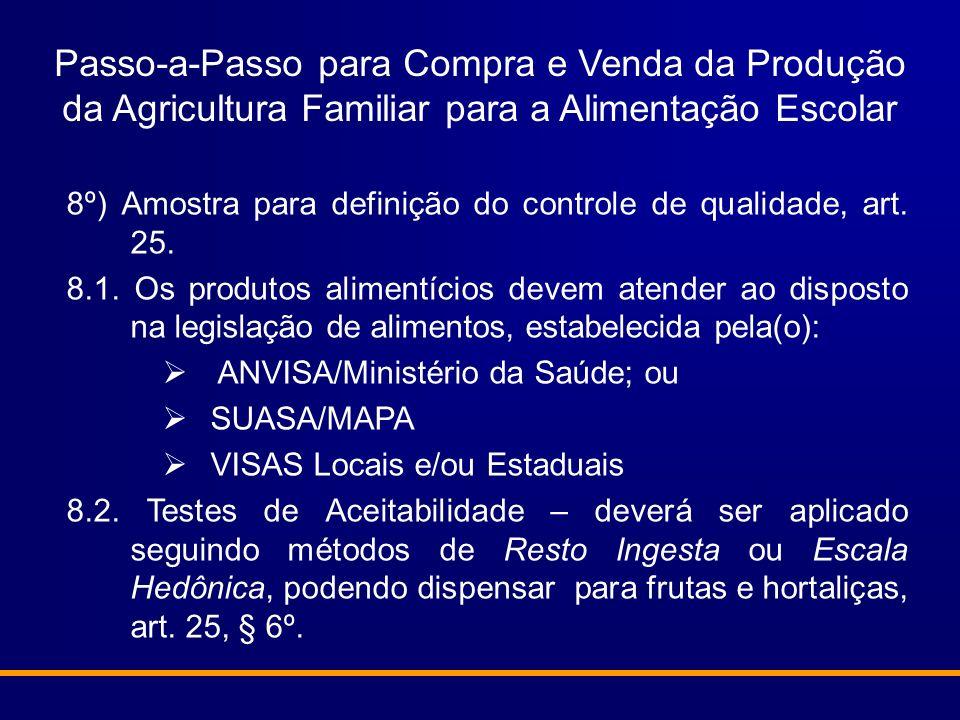 Passo-a-Passo para Compra e Venda da Produção da Agricultura Familiar para a Alimentação Escolar 8º) Amostra para definição do controle de qualidade,