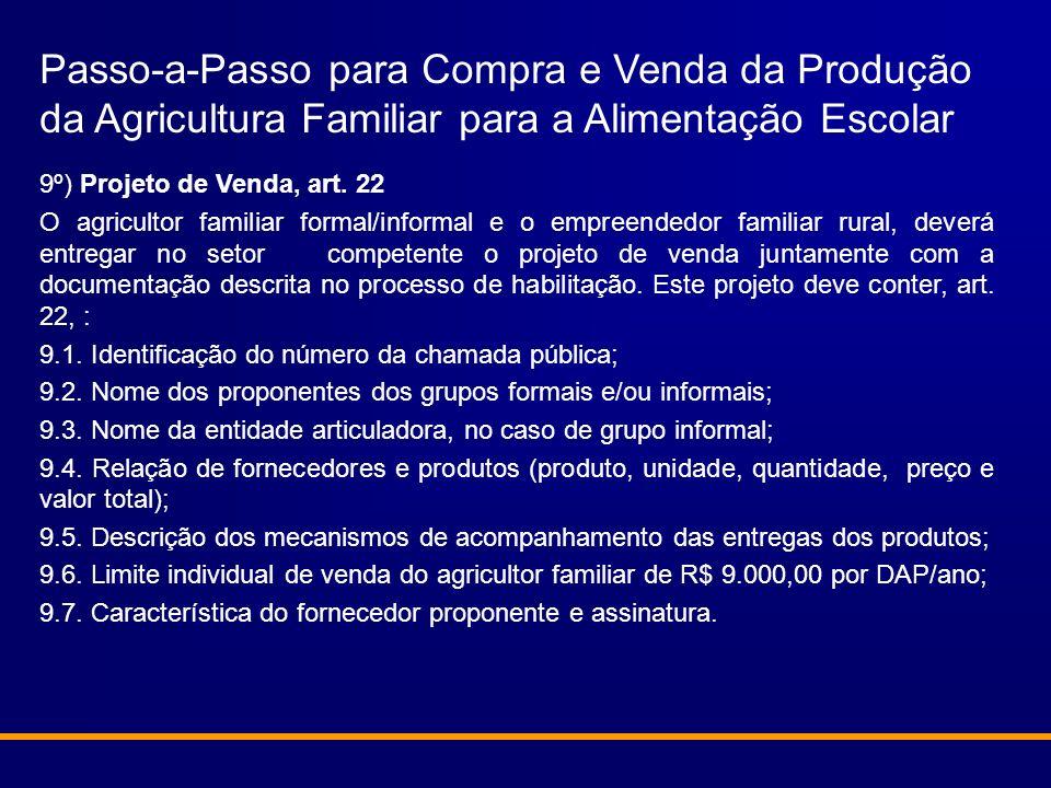 Passo-a-Passo para Compra e Venda da Produção da Agricultura Familiar para a Alimentação Escolar 9º) Projeto de Venda, art. 22 O agricultor familiar f