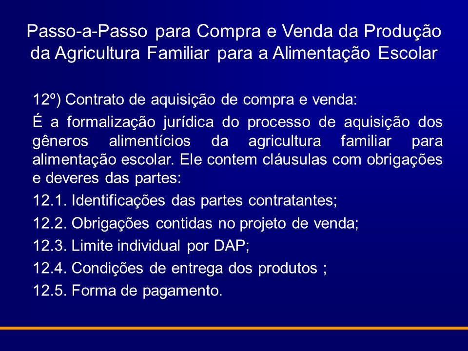 Passo-a-Passo para Compra e Venda da Produção da Agricultura Familiar para a Alimentação Escolar 12º) Contrato de aquisição de compra e venda: É a for
