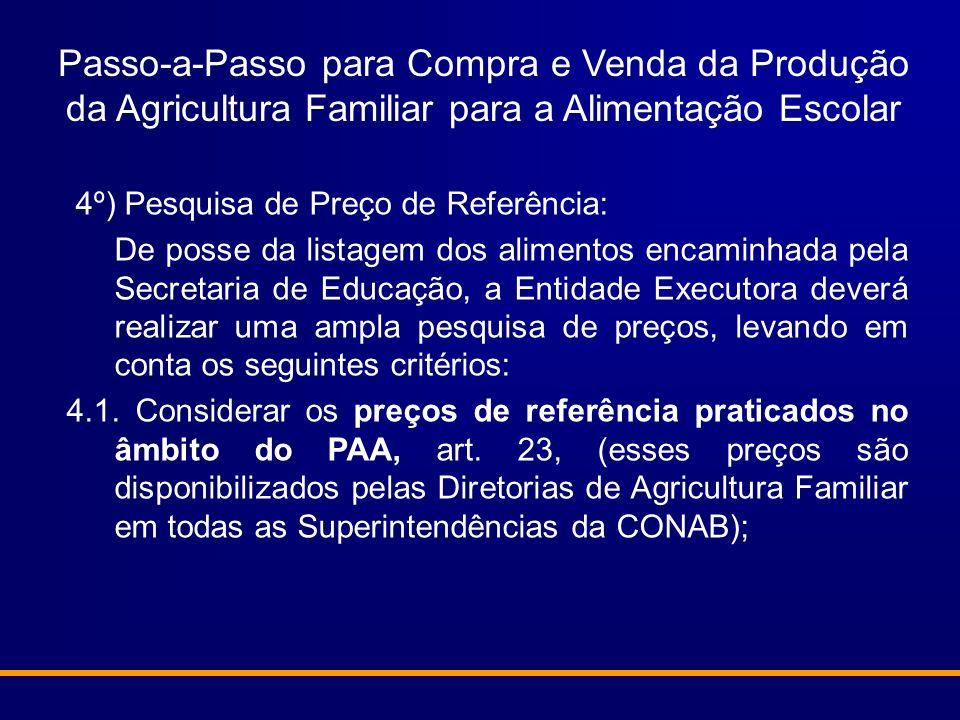Passo-a-Passo para Compra e Venda da Produção da Agricultura Familiar para a Alimentação Escolar 4º) Pesquisa de Preço de Referência: De posse da list