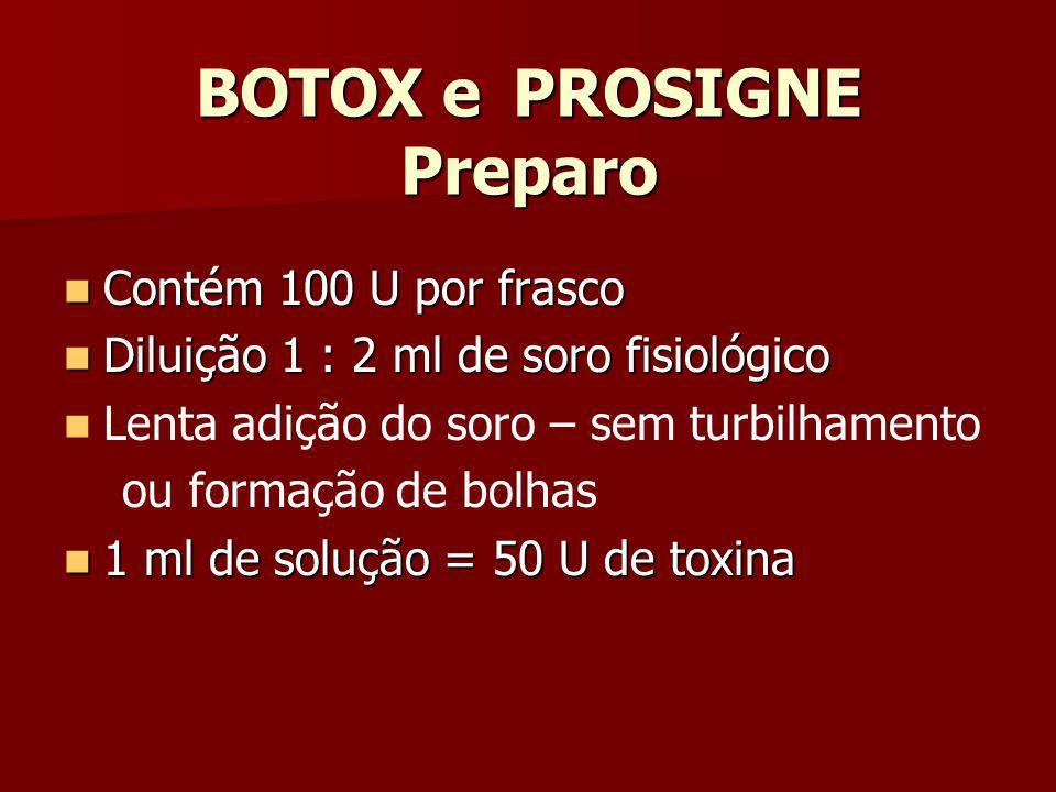 BOTOX e PROSIGNE Preparo Contém 100 U por frasco Contém 100 U por frasco Diluição 1 : 2 ml de soro fisiológico Diluição 1 : 2 ml de soro fisiológico L
