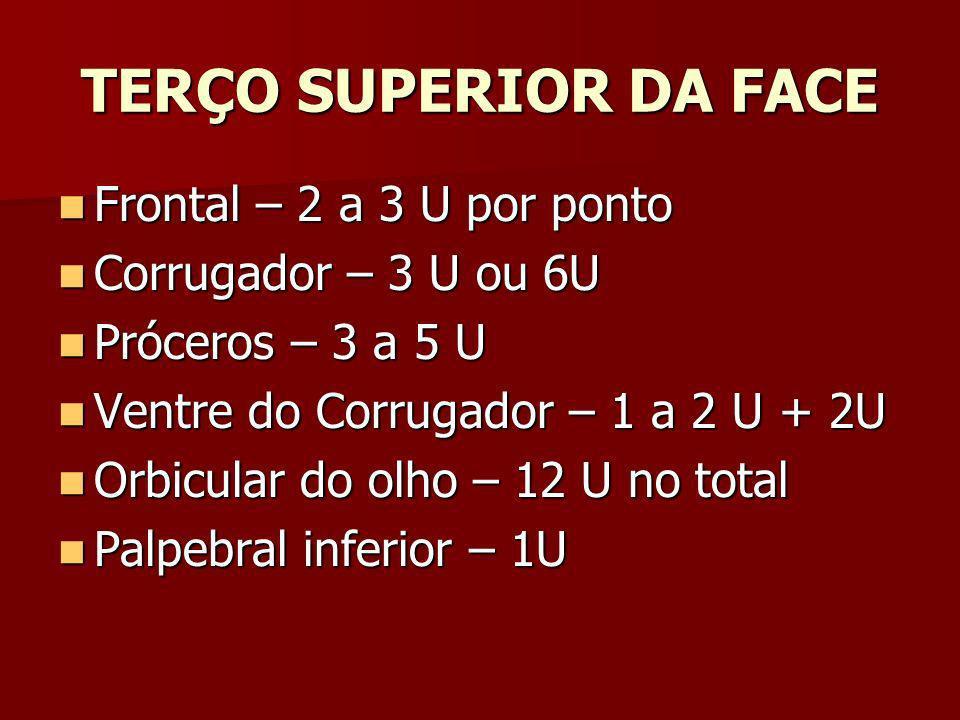 TERÇO SUPERIOR DA FACE Frontal – 2 a 3 U por ponto Frontal – 2 a 3 U por ponto Corrugador – 3 U ou 6U Corrugador – 3 U ou 6U Próceros – 3 a 5 U Prócer