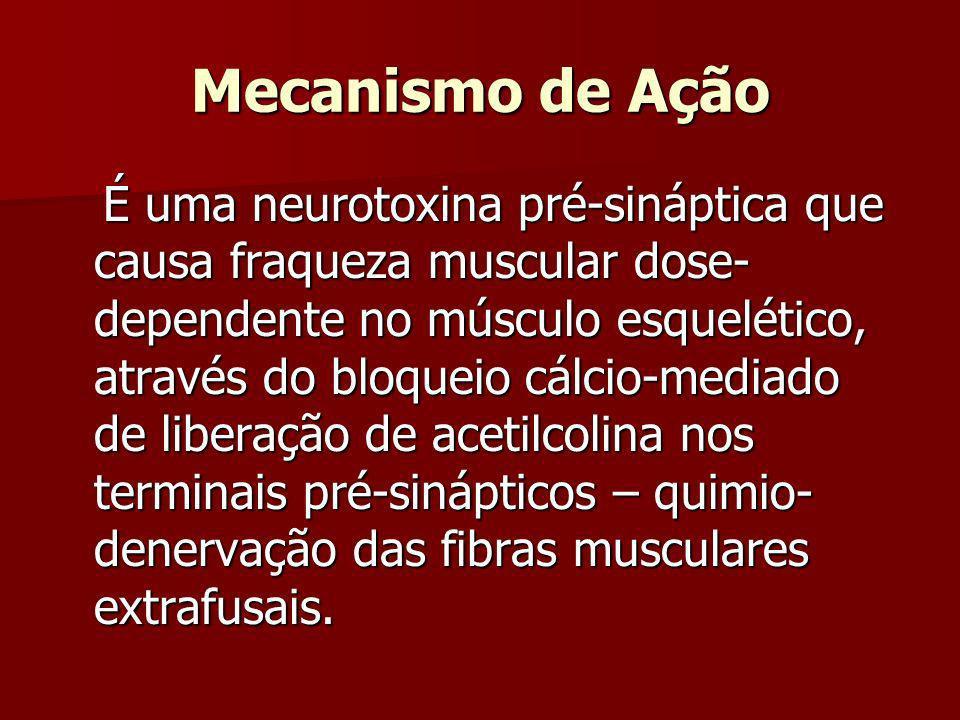 Mecanismo de Ação É uma neurotoxina pré-sináptica que causa fraqueza muscular dose- dependente no músculo esquelético, através do bloqueio cálcio-medi