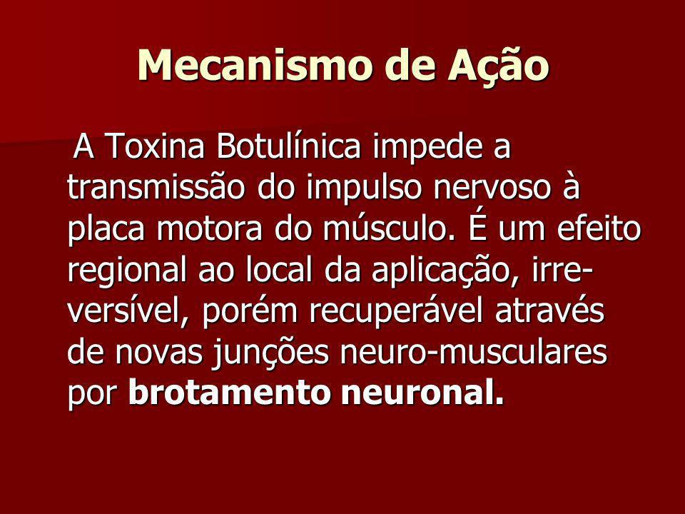 Mecanismo de Ação A Toxina Botulínica impede a transmissão do impulso nervoso à placa motora do músculo. É um efeito regional ao local da aplicação, i