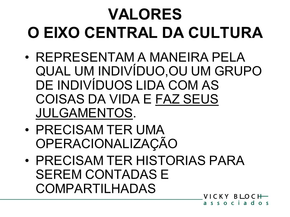 VALORES O EIXO CENTRAL DA CULTURA REPRESENTAM A MANEIRA PELA QUAL UM INDIVÍDUO,OU UM GRUPO DE INDIVÍDUOS LIDA COM AS COISAS DA VIDA E FAZ SEUS JULGAME
