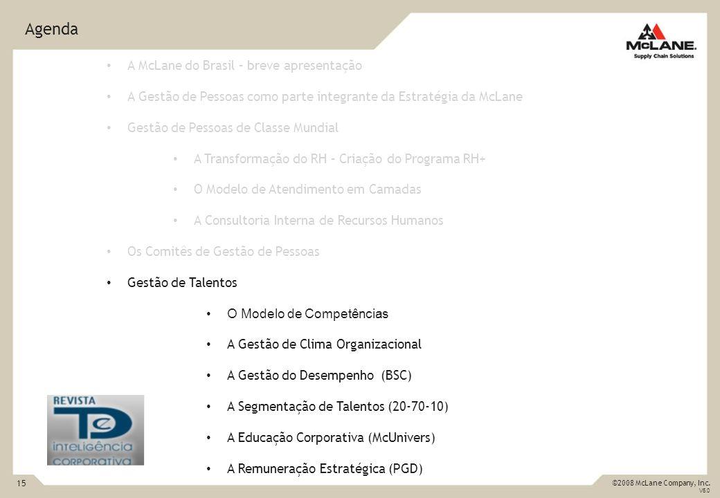 15 ©2008 McLane Company, Inc. V6.0 Agenda A McLane do Brasil – breve apresentação A Gestão de Pessoas como parte integrante da Estratégia da McLane Ge