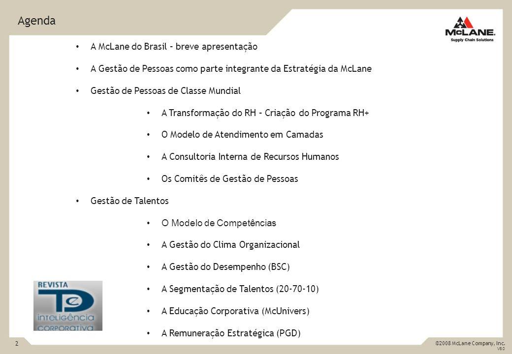 2 ©2008 McLane Company, Inc. V6.0 Agenda A McLane do Brasil – breve apresentação A Gestão de Pessoas como parte integrante da Estratégia da McLane Ges