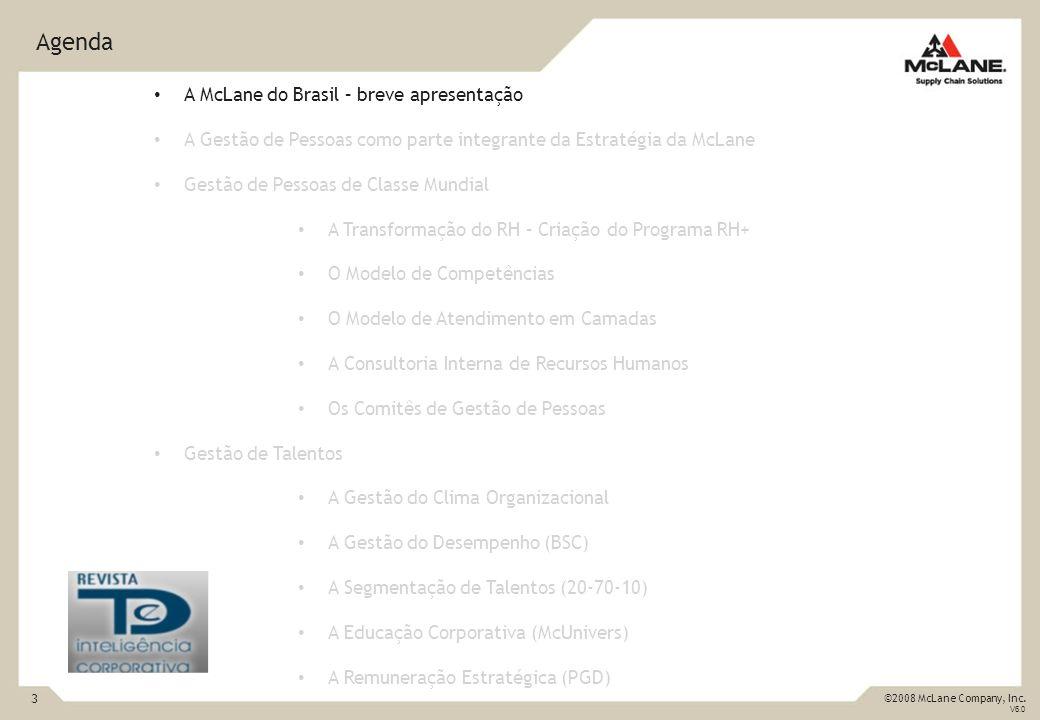 3 ©2008 McLane Company, Inc. V6.0 Agenda A McLane do Brasil – breve apresentação A Gestão de Pessoas como parte integrante da Estratégia da McLane Ges
