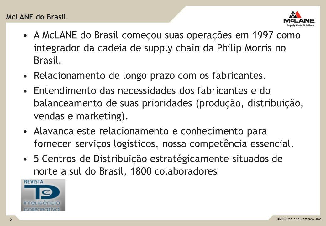 6 ©2008 McLane Company, Inc. A McLANE do Brasil começou suas operações em 1997 como integrador da cadeia de supply chain da Philip Morris no Brasil. R