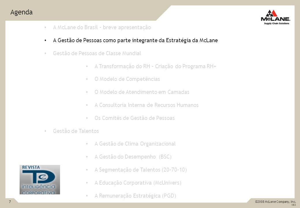 7 ©2008 McLane Company, Inc. V6.0 Agenda A McLane do Brasil – breve apresentação A Gestão de Pessoas como parte integrante da Estratégia da McLane Ges