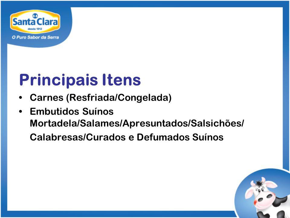 Principais Itens Carnes (Resfriada/Congelada) Embutidos Suínos Mortadela/Salames/Apresuntados/Salsichões/ Calabresas/Curados e Defumados Suínos