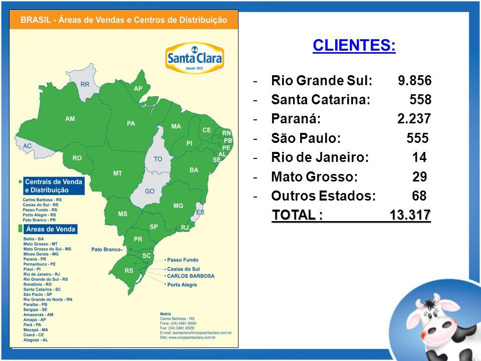 CLIENTES: -Rio Grande Sul: 9.856 -Santa Catarina: 558 -Paraná: 2.237 -São Paulo: 555 -Rio de Janeiro: 14 -Mato Grosso: 29 -Outros Estados: 68 TOTAL : 13.317 TOTAL : 13.317