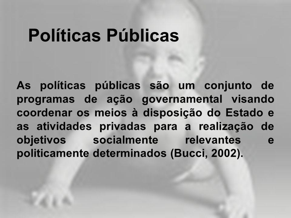 As políticas públicas são um conjunto de programas de ação governamental visando coordenar os meios à disposição do Estado e as atividades privadas pa