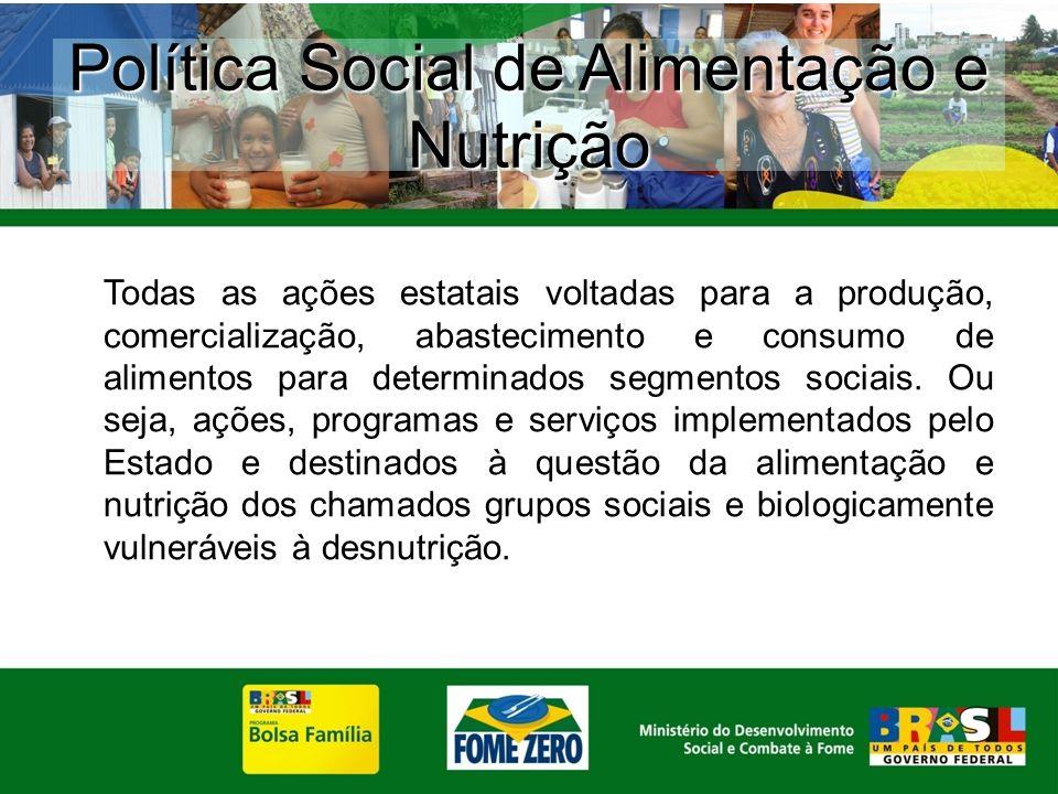 Todas as ações estatais voltadas para a produção, comercialização, abastecimento e consumo de alimentos para determinados segmentos sociais. Ou seja,