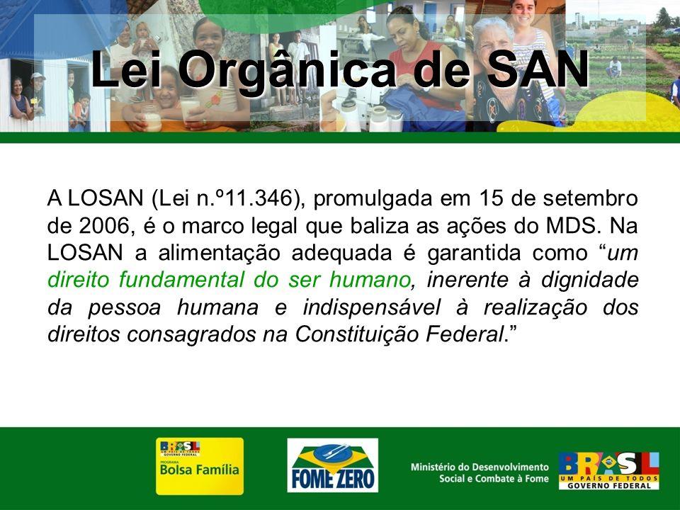 A LOSAN (Lei n.º11.346), promulgada em 15 de setembro de 2006, é o marco legal que baliza as ações do MDS. Na LOSAN a alimentação adequada é garantida