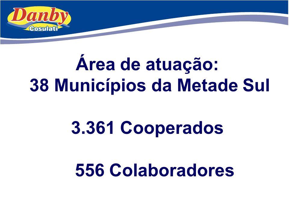 Área de atuação: 38 Municípios da Metade Sul 3.361 Cooperados 556 Colaboradores