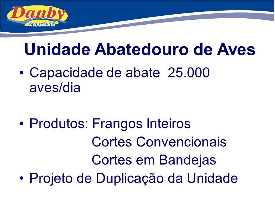 Unidade Abatedouro de Aves Capacidade de abate 25.000 aves/dia Produtos: Frangos Inteiros Cortes Convencionais Cortes em Bandejas Projeto de Duplicaçã