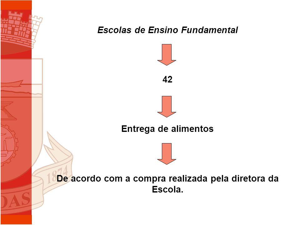 Escolas de Ensino Fundamental 42 Entrega de alimentos De acordo com a compra realizada pela diretora da Escola.