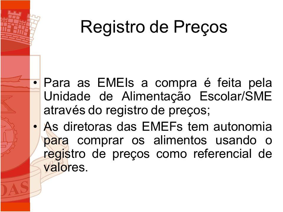 Registro de Preços Para as EMEIs a compra é feita pela Unidade de Alimentação Escolar/SME através do registro de preços; As diretoras das EMEFs tem au