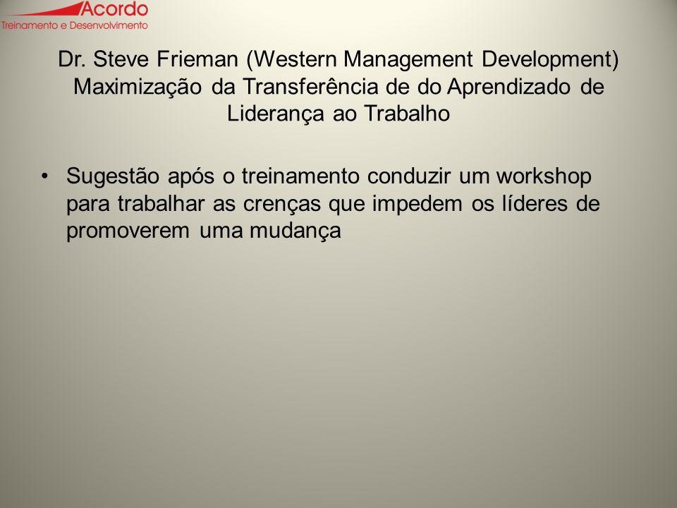 Dr. Steve Frieman (Western Management Development) Maximização da Transferência de do Aprendizado de Liderança ao Trabalho Sugestão após o treinamento