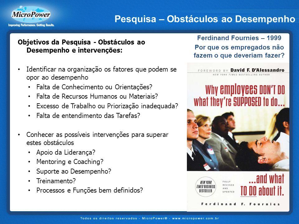 Ferdinand Fournies – 1999 Por que os empregados não fazem o que deveriam fazer? Pesquisa – Obstáculos ao Desempenho Objetivos da Pesquisa - Obstáculos