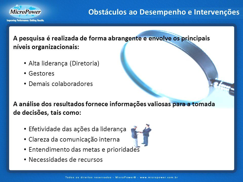Obstáculos ao Desempenho e Intervenções A pesquisa é realizada de forma abrangente e envolve os principais níveis organizacionais: Alta liderança (Dir