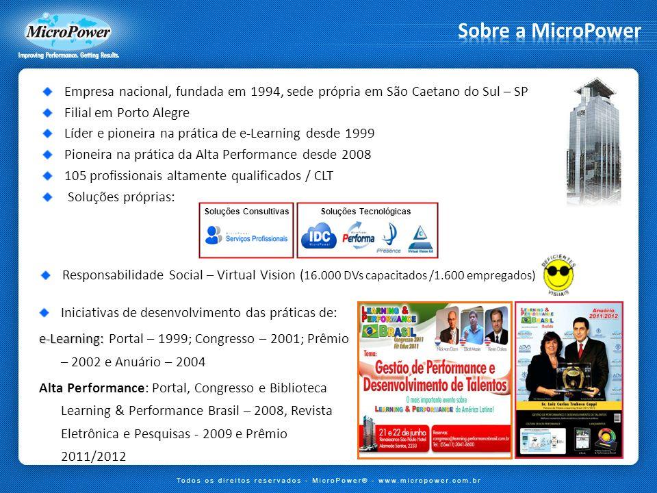 Empresa nacional, fundada em 1994, sede própria em São Caetano do Sul – SP Filial em Porto Alegre Líder e pioneira na prática de e-Learning desde 1999