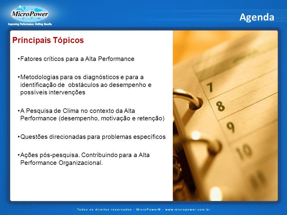 Agenda Principais Tópicos Fatores críticos para a Alta Performance Metodologias para os diagnósticos e para a identificação de obstáculos ao desempenh
