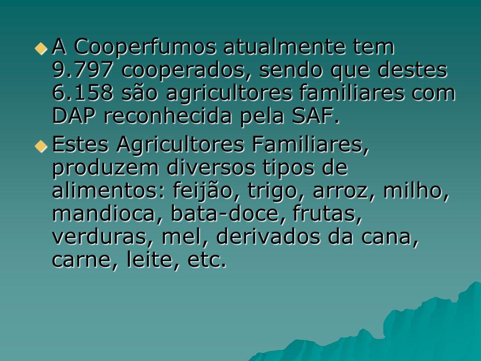 A Cooperfumos atualmente tem 9.797 cooperados, sendo que destes 6.158 são agricultores familiares com DAP reconhecida pela SAF. A Cooperfumos atualmen