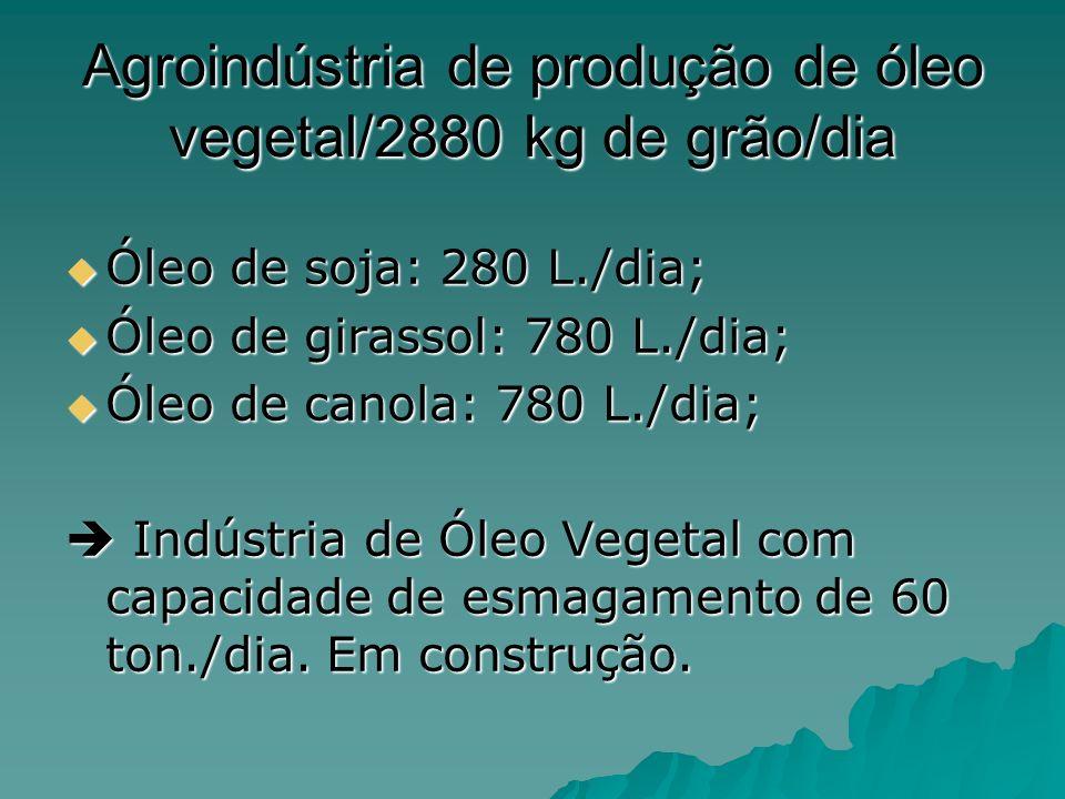 Agroindústria de produção de óleo vegetal/2880 kg de grão/dia Óleo de soja: 280 L./dia; Óleo de soja: 280 L./dia; Óleo de girassol: 780 L./dia; Óleo d