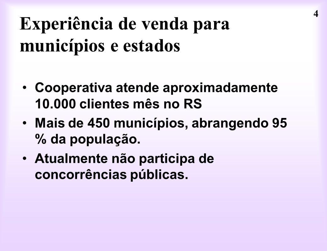 4 Experiência de venda para municípios e estados Cooperativa atende aproximadamente 10.000 clientes mês no RS Mais de 450 municípios, abrangendo 95 %