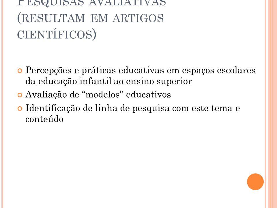 P ESQUISAS AVALIATIVAS ( RESULTAM EM ARTIGOS CIENTÍFICOS ) Percepções e práticas educativas em espaços escolares da educação infantil ao ensino superi