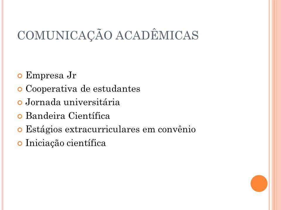 COMUNICAÇÃO ACADÊMICAS Empresa Jr Cooperativa de estudantes Jornada universitária Bandeira Científica Estágios extracurriculares em convênio Iniciação