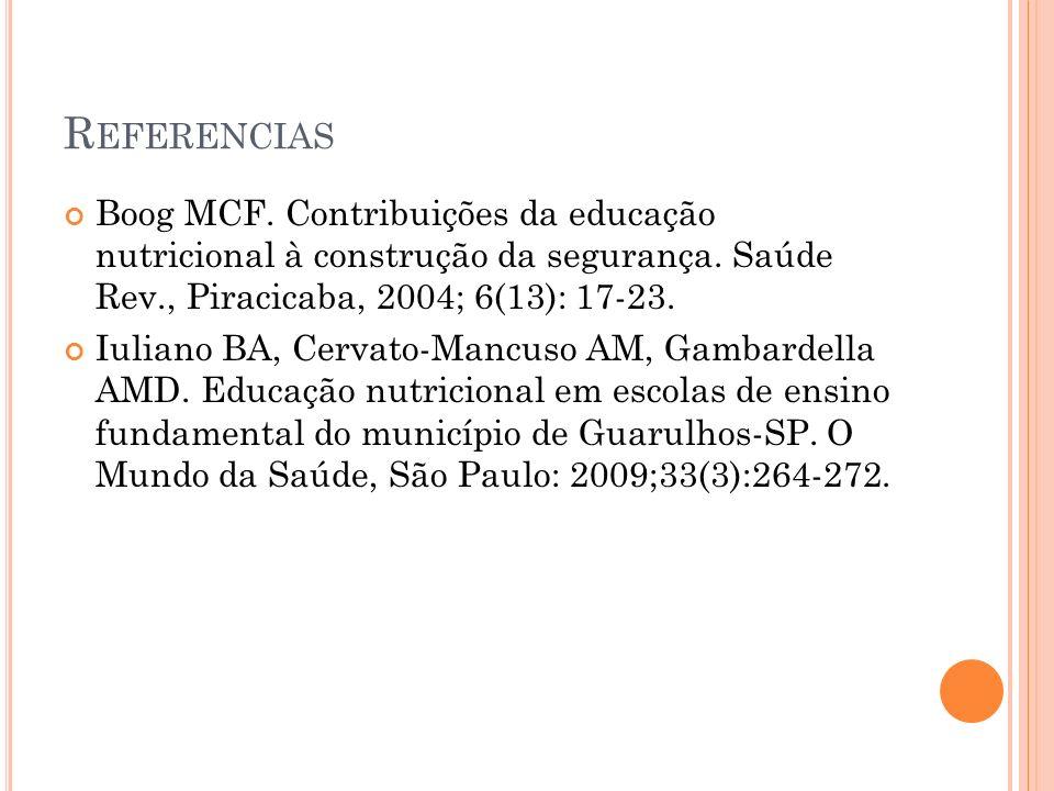 R EFERENCIAS Boog MCF. Contribuições da educação nutricional à construção da segurança. Saúde Rev., Piracicaba, 2004; 6(13): 17-23. Iuliano BA, Cervat