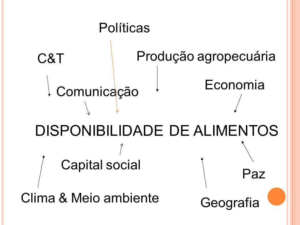 DISPONIBILIDADE DE ALIMENTOS Produção agropecuária C&T Comunicação Economia Capital social Paz Clima & Meio ambiente Geografia Políticas