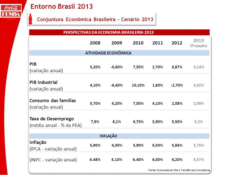 PERSPECTIVAS DA ECONOMIA BRASILEIRA 2013 20082009201020112012 2013 (Projeção) ATIVIDADE ECONÔMICA PIB 5,20%-0,60%7,50%2,70%0,87%3,14% (variação anual)