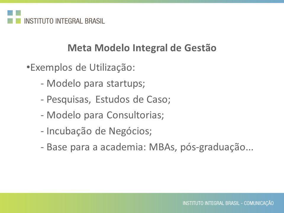 Meta Modelo Integral de Gestão Exemplos de Utilização: - Modelo para startups; - Pesquisas, Estudos de Caso; - Modelo para Consultorias; - Incubação d