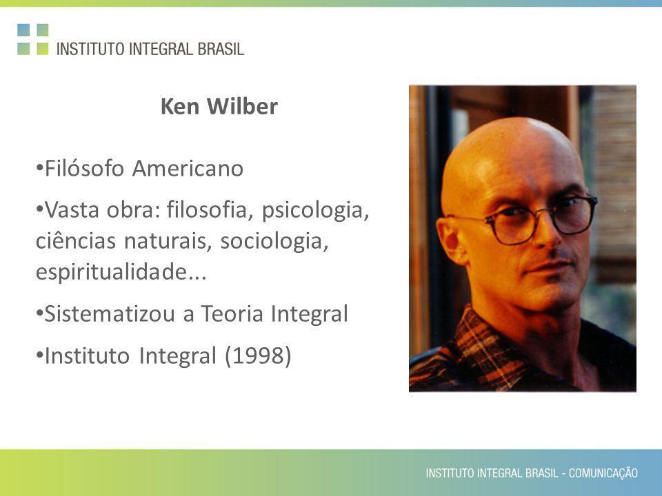Ken Wilber Filósofo Americano Vasta obra: filosofia, psicologia, ciências naturais, sociologia, espiritualidade... Sistematizou a Teoria Integral Inst