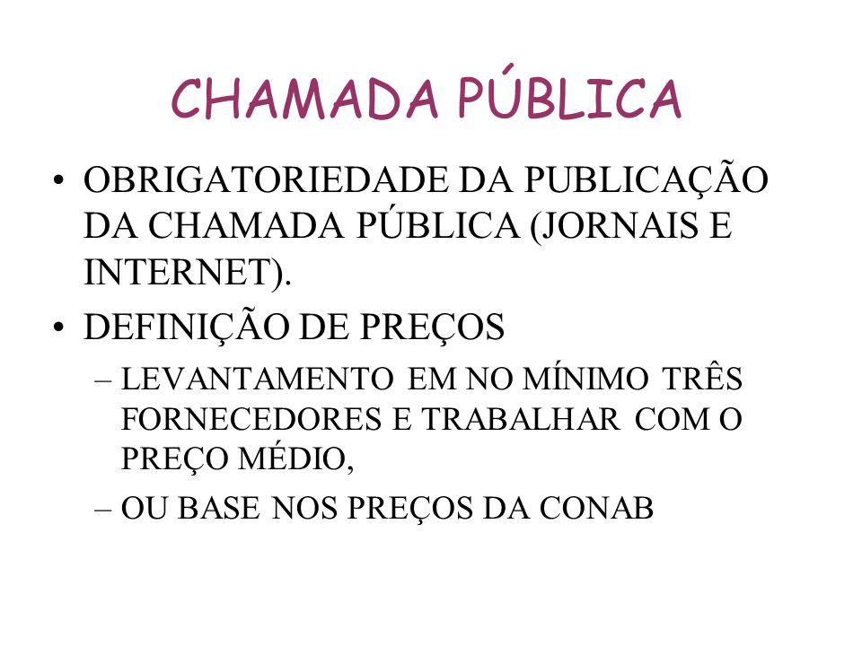 CHAMADA PÚBLICA OBRIGATORIEDADE DA PUBLICAÇÃO DA CHAMADA PÚBLICA (JORNAIS E INTERNET). DEFINIÇÃO DE PREÇOS –LEVANTAMENTO EM NO MÍNIMO TRÊS FORNECEDORE