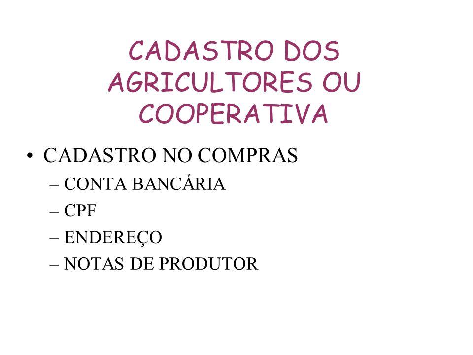 CADASTRO DOS AGRICULTORES OU COOPERATIVA CADASTRO NO COMPRAS –CONTA BANCÁRIA –CPF –ENDEREÇO –NOTAS DE PRODUTOR