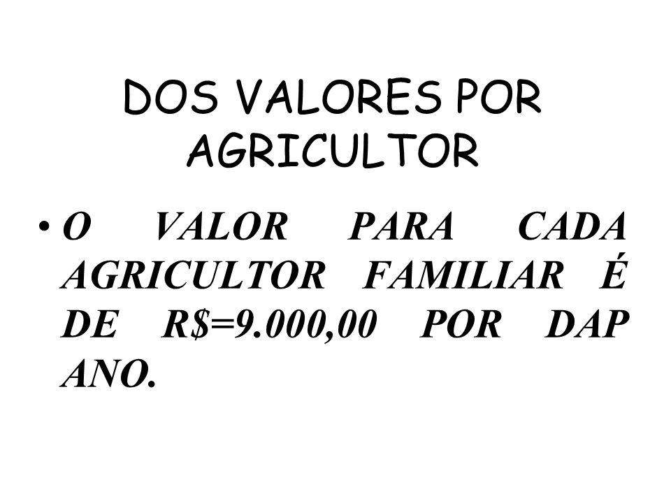 DOS VALORES POR AGRICULTOR O VALOR PARA CADA AGRICULTOR FAMILIAR É DE R$=9.000,00 POR DAP ANO.