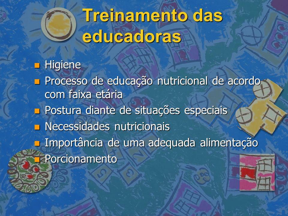 Treinamento das educadoras n Higiene n Processo de educação nutricional de acordo com faixa etária n Postura diante de situações especiais n Necessida