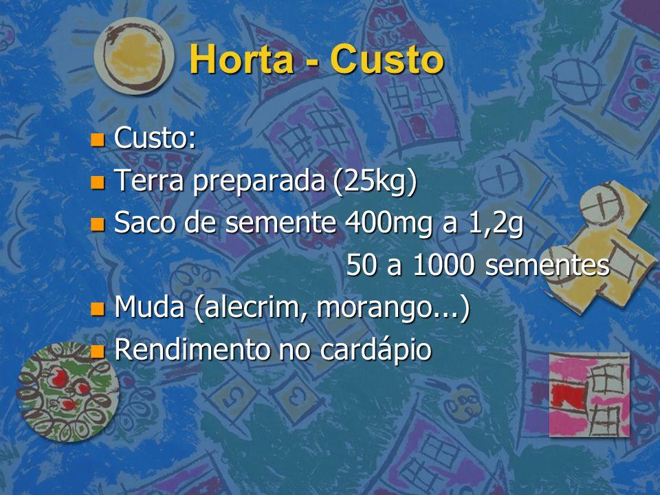 Horta - Custo n Custo: n Terra preparada (25kg) n Saco de semente 400mg a 1,2g 50 a 1000 sementes 50 a 1000 sementes n Muda (alecrim, morango...) n Re